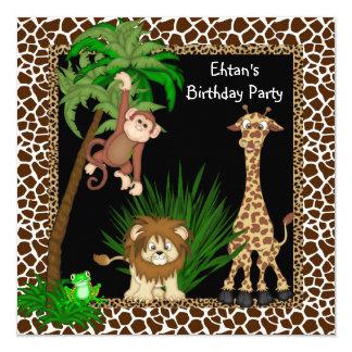 Fête d'anniversaire de safari de garçons carton d'invitation  13,33 cm