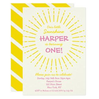 Fête d'anniversaire de soleil de rayon de soleil carton d'invitation  12,7 cm x 17,78 cm