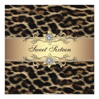Fête d'anniversaire de sweet sixteen de léopard carton d'invitation  13,33 cm