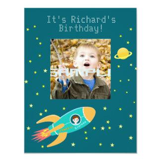 Fête d'anniversaire d'enfant d'astronaute carton d'invitation 10,79 cm x 13,97 cm
