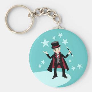 Fête d'anniversaire d'enfant de magicien porte-clé rond