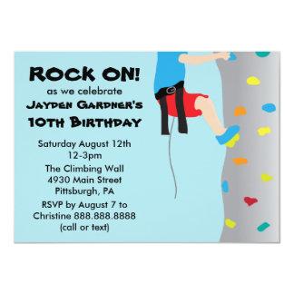 Fête d'anniversaire d'escalade de mur de la roche carton d'invitation  11,43 cm x 15,87 cm