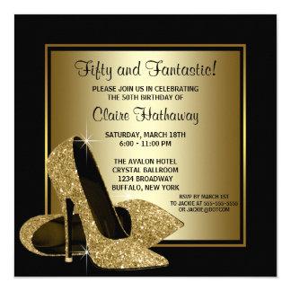Fête d'anniversaire d'or de la femme noire de carton d'invitation  13,33 cm