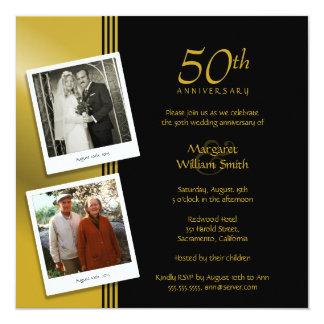 Fête d'anniversaire d'or de mariage de 2 photos carton d'invitation  13,33 cm