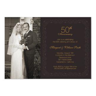 Fête d'anniversaire d'or de mariage de photo carton d'invitation  12,7 cm x 17,78 cm