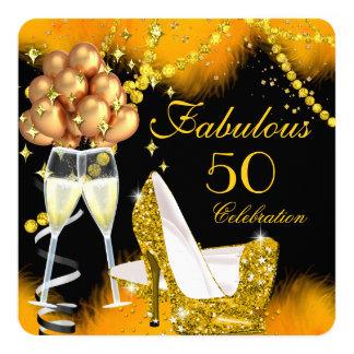 Fête d'anniversaire fabuleuse de Champagne de 50 Carton D'invitation 13,33 Cm