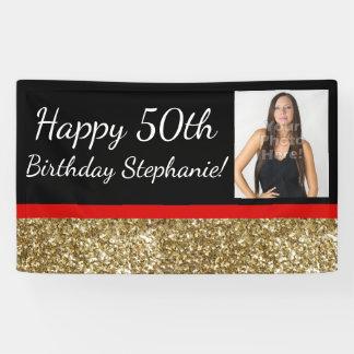 Fête d'anniversaire fabuleuse de photo d'or banderoles