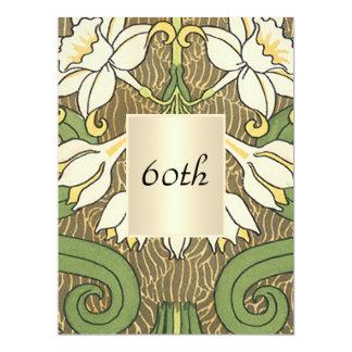 Fête d'anniversaire florale d'art déco vintage carton d'invitation  16,51 cm x 22,22 cm