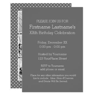 Fête d'anniversaire grise et rose de photo carton d'invitation  12,7 cm x 17,78 cm