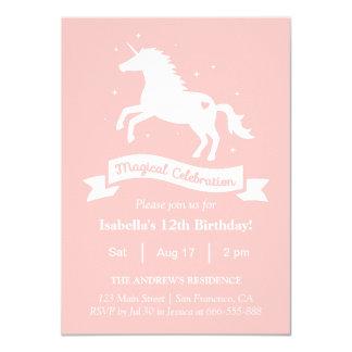 Fête d'anniversaire magique élégante de filles de carton d'invitation  11,43 cm x 15,87 cm