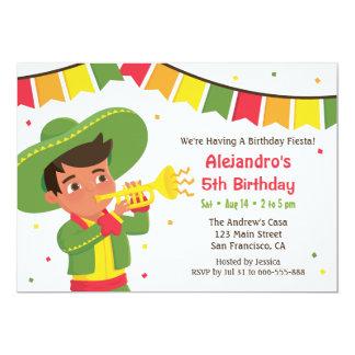 Fête d'anniversaire mexicaine mignonne de fiesta carton d'invitation  12,7 cm x 17,78 cm