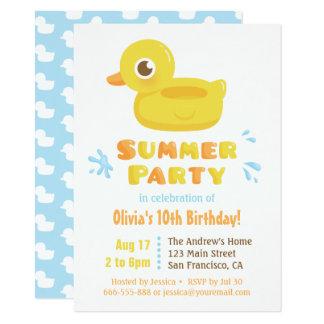 Fête d'anniversaire mignonne en caoutchouc carton d'invitation  11,43 cm x 15,87 cm