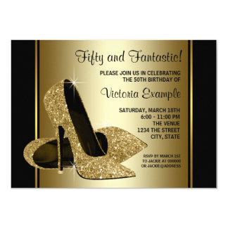 Fête d'anniversaire noire de talons hauts de l'or carton d'invitation  11,43 cm x 15,87 cm