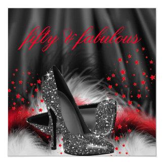 Fête d'anniversaire noire rouge fabuleuse de 50 carton d'invitation  13,33 cm