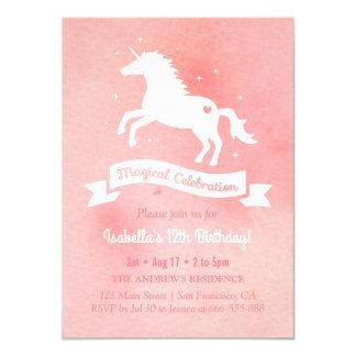 Fête d'anniversaire pour aquarelle de filles de carton d'invitation  11,43 cm x 15,87 cm