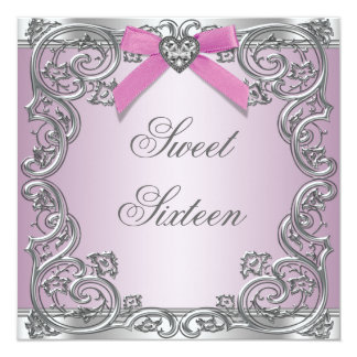 Fête d'anniversaire rose argentée rose du bonbon carton d'invitation  13,33 cm