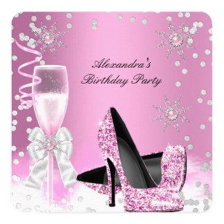 Fête d'anniversaire rose de talons hauts de carton d'invitation  13,33 cm