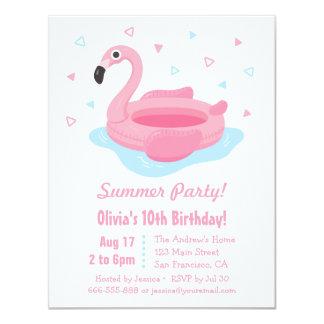 Fête d'anniversaire rose d'été de flotteur de carton d'invitation 10,79 cm x 13,97 cm