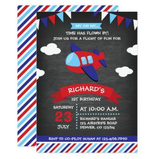 Fête d'anniversaire rouge et bleue d'avion de carton d'invitation  12,7 cm x 17,78 cm