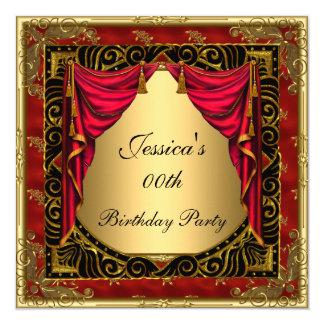 Fête d'anniversaire rouge noire d'or rétro carton d'invitation  13,33 cm