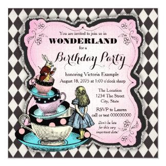 Fête d'anniversaire vintage du pays des merveilles carton d'invitation  13,33 cm