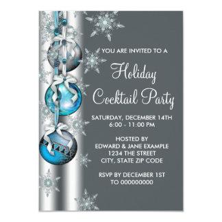 Fête de Noël argentée turquoise d'ornement de Carton D'invitation 11,43 Cm X 15,87 Cm