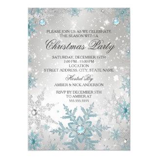 Fête de Noël en cristal de flocon de neige de Carton D'invitation 12,7 Cm X 17,78 Cm