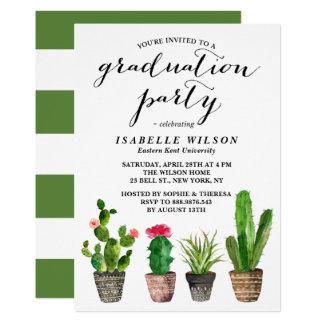 Fête de remise des diplômes de Succulents Carton D'invitation 12,7 Cm X 17,78 Cm