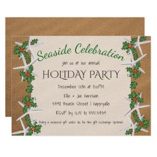 Fête de vacances d'étoiles de mer de célébration carton d'invitation  12,7 cm x 17,78 cm