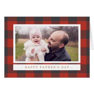 Fête des pères rouge de plaid carte de vœux