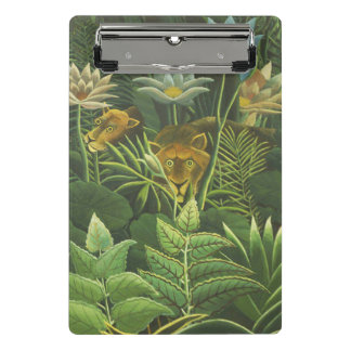 Feuillage tropical d'impression d'art de lion de mini porte-bloc