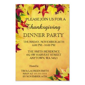 Feuille de dîner de thanksgiving d'automne carton d'invitation 8,89 cm x 12,70 cm