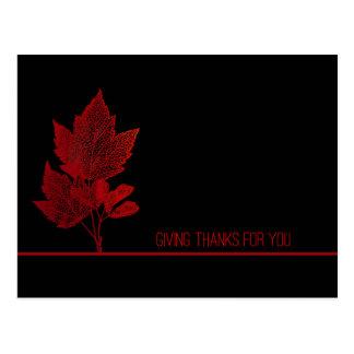 Feuille de rouge de thanksgiving d'affaires cartes postales