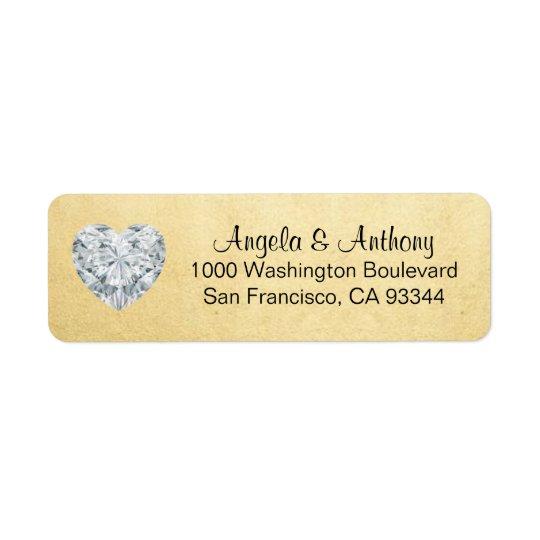 Feuille d'or élégante chique épousant l'adresse de étiquette d'adresse retour