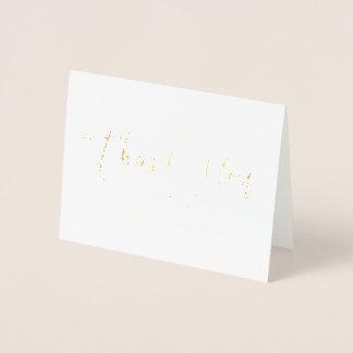 Feuille d'or en lettres de carte de remerciements