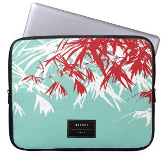 Feuille en bambou rouge de zen moderne chic protection pour ordinateur portable