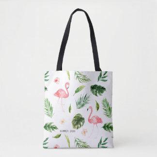 Feuille et flamant tropicaux d'aquarelle sac