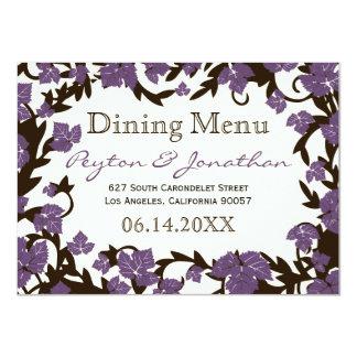 Feuille pourpre d'été de Brown dinant le menu Carton D'invitation 11,43 Cm X 15,87 Cm
