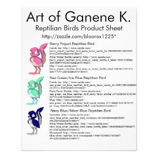 Feuille reptile 1 de produit d'oiseaux prospectus 11,4 cm x 14,2 cm