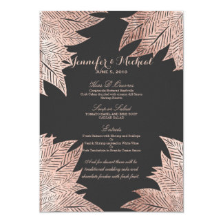 Feuille rose d'or sur le menu noir de mariage carton d'invitation  12,7 cm x 17,78 cm