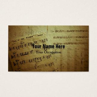 Feuilles de musique froissées cartes de visite