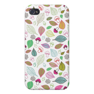 Feuilles et coque iphone mignons de motif de champ iPhone 4 case