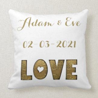 Fiançailles élégant de mariage d'or de typographie coussin décoratif