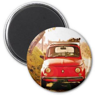 Fiat 500, cinquecento en Italie Magnet Rond 8 Cm