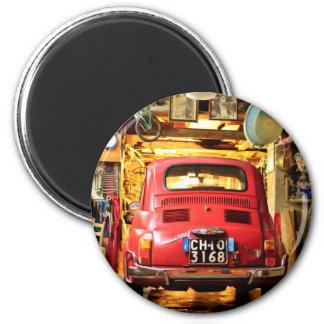 Fiat 500 en Italie Magnet Rond 8 Cm
