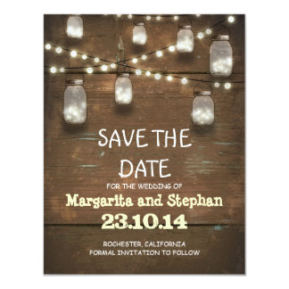 ficelez les lumières et les pots de maçon sauvent carton d'invitation 10,79 cm x 13,97 cm