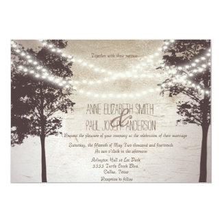 Ficelle des arbres de lumières épousant des carton d'invitation  12,7 cm x 17,78 cm