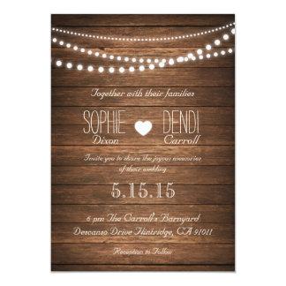 Ficelle rustique des lumières épousant carton d'invitation  12,7 cm x 17,78 cm