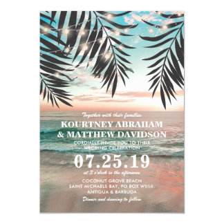 Ficelle tropicale du mariage de plage | des carton d'invitation  12,7 cm x 17,78 cm