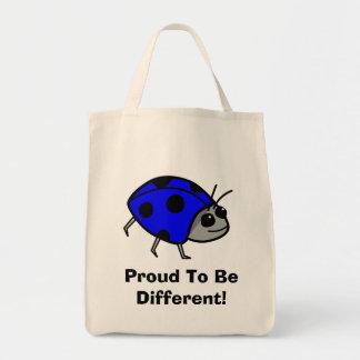 Fier d'être coccinelle bleue différente sac en toile épicerie